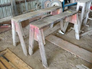 2  Wooden Saw Horses