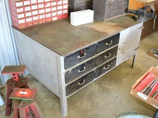 Steel Shop Table with Storage  3 8  Plate Top