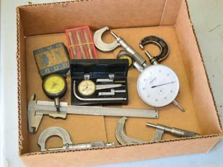 Box of Precision Micrometers  Calipers  Gauges
