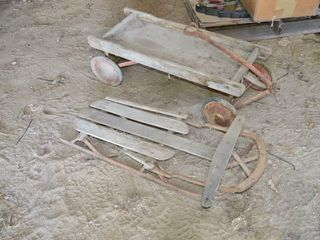 Old Wooden Wagon and Sled