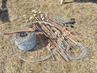 Grp  of Barbed Wire  Fence Posts with insulators