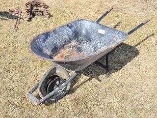 Wheelbarrow   black  flat tire