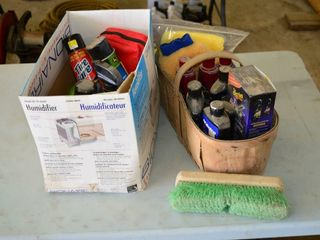 Box and Basket of Car Care Items   Wash and