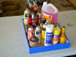 Tray of Assorted Auto Fluids  Oils  Grease