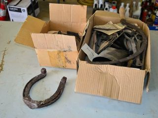 2  Boxes of Horseshoes  Vintage Tools  Bell