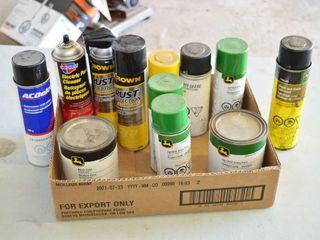 Box of JD Paints  Rust Control  etc