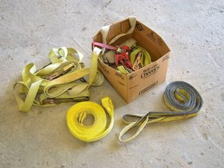 Box of Heavy Tue Down Straps and Tow Straps