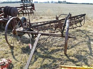 Antique Pull Type Side Rake with Steel Wheels