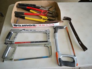 Tray of Bolt Cutters  Saws  Pry Bars  Etc