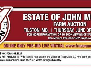 ESTATE OF JOHN MORRICE ONLINE FARM AUCTION RING #1 PRE-BID LIVE VIRTUAL LOTS