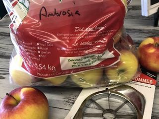 10lb bag of Ambrosia apples with an apple slicer c