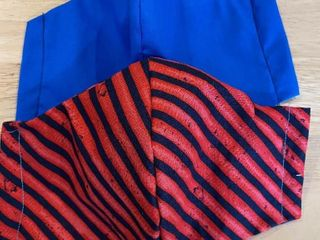 Two Sets of Face Masks   Blue and Striped