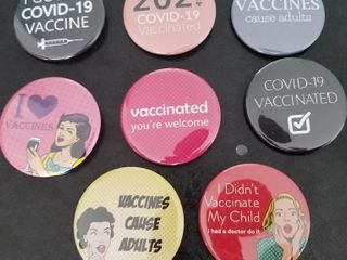 Assortment of COVID 19 Vaccine Buttons  2 25