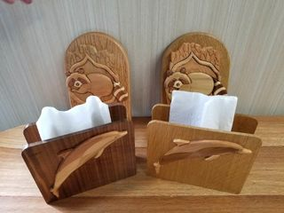 Two Wooden Napkin Holders and Two Wooden Hooks