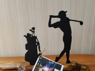 Golfer  Metal  Mounted on Driftwood