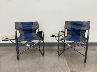 Two Blue Grey Director Style Camp Chairs