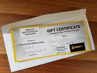 Gift Certificate for Krown Rust Control Sarnia  up