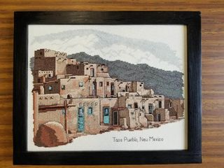 Cross Stitch artwork of Taos Pueblo  New Mexico