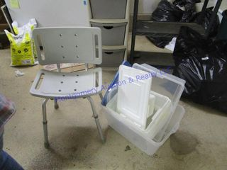 PlASTIC TOTES  SHOWER CHAIR