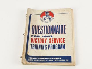 QUESTIONAIRE FOR 1943 VICTORY SERVICE TRAINING