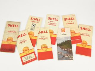 lOT OF 8 1960 S SHEll MAPS   STREET GUIDES