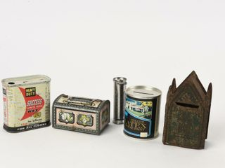 lOT OF 5 VINTAGE ADVERTISING COIN BANKS