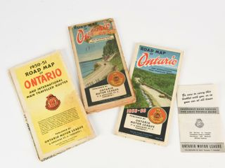 lOT OF 4  3 1950 S CAA ONTARIO ROAD MAPS