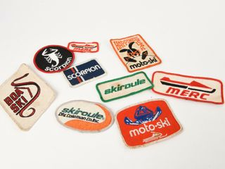GROUPING OF 9 SNOWMOBIlE ClOTH PATCHES  NOS