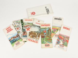 lOT OF 8 TEXACO CANADA MAPS   STREET GUIDES