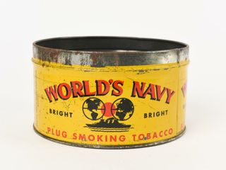 WORlD S NAVY PlUG SMOKING TOBACCO HAlF CAN  NO lID