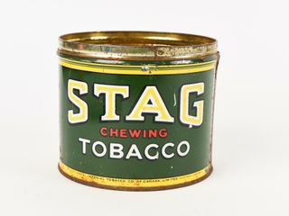STAG CHEWING TOBACCO CUT OFF CAN   NO lID