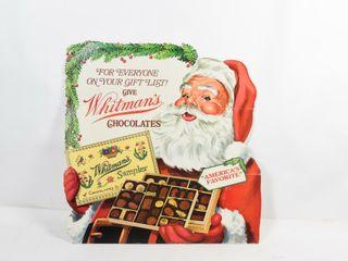 WHITMAN S CHOCOlATES SANTA CARDBOARD ADVERTISING