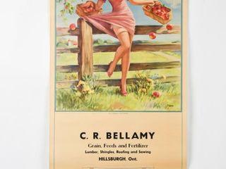 1950 BEllAMY SHUR GAIN FEEDS HIllSBURG CAlENDAR