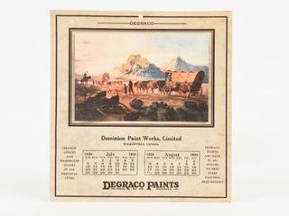 DEGRACO DOMINION PAINT WORKS 1930 CAlENDAR PRINT
