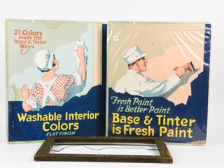 lOT OF 3 VINTAGE PAINT ADVERTISING FRAME   SIGNS