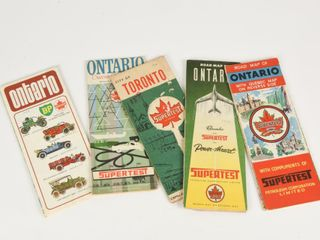 GROUPING OF 6 1950 S SUPERTEST ONTARIO MAPS