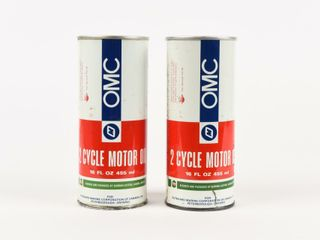 lOT OF 2 OMC 2 CYClE MOTOR OIl PUll TOP CANS  FUll