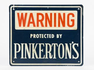 WARNING PROTECTED BY PINKERTON S S S AlUM  SIGN