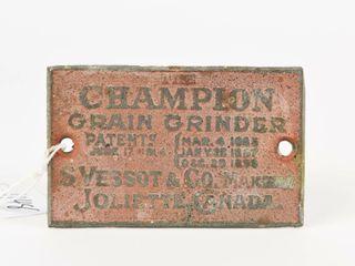 CHAMPION GRAIN GRINDER METAl PlATE  lATE 1880 S