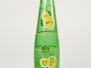 UP TOWN GREEN GlASS BEVERAGE BOTTlE  NO CAP