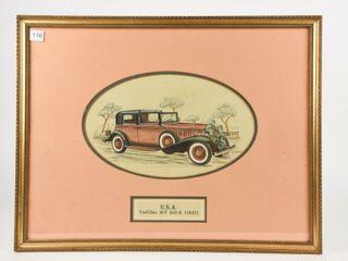 FRAMED U S A  CADIllAC V 16  1932  CAR SKETCH