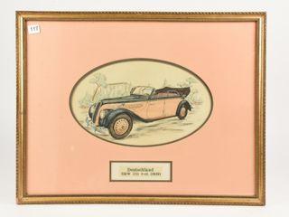FRAMED DEUTSCHlAND BMW 335  1939  CAR SKETCH