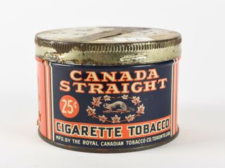 CANADA STRAIGHT CIGARETTE TOBACCO 25 CENT CAN