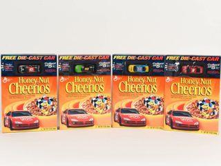 lOT OF 4 NASCAR CHEERIOS CAR COllECTOR BOXES