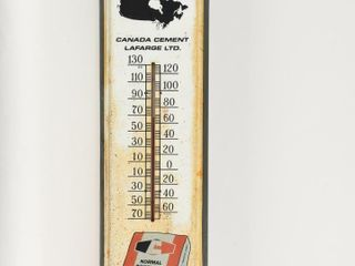 CANADA CEMENT lAFARGE ADVERTISING TIN THERMOMETER