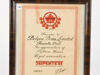 FRAMED 1950 SUPERTEST 15 YEARS SERVICE AWARD