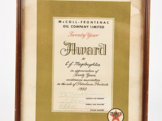 1950 McCOll FRONTENAC 20 YEAR AWARD CERTIFICATE