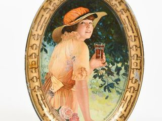 1916 DRINK COCA COlA  ElAINE  TIN CHANGE TRAY