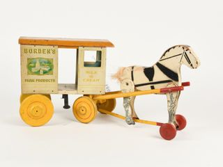 EARlY BORDEN S HORSE DRAWN WAGON PUll TOY