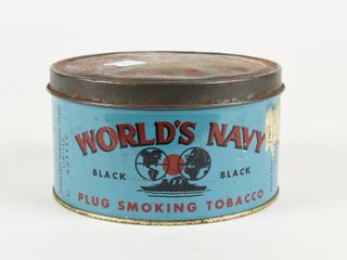 WORlD S NAVY PlUG TOBACCO  BlACK  SHORT CANISTER